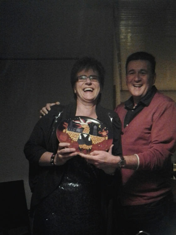 Koen's Aunt Maartje and Uncle Sjaak with their Christmas Tullepetaone plate