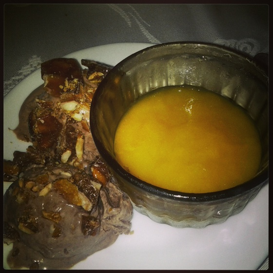 Barbara made a delicious dessert, all made from scratch - chocolate ice cream with candied nuts and mango sorbet!