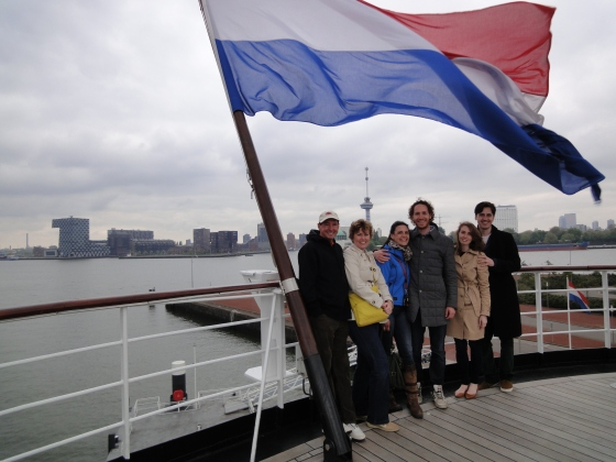 The whole group: Dad, Mom, Hannah, Chris, Koen and me with the Dutch flag in Rotterdam