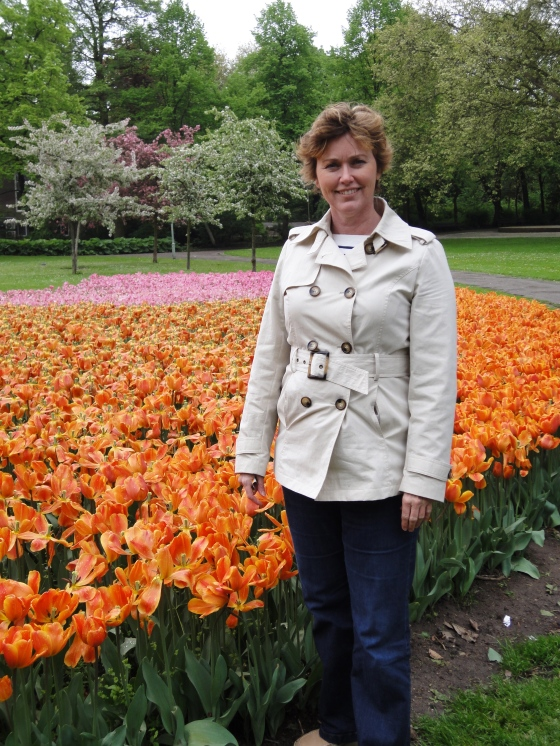 My mom with the tulips