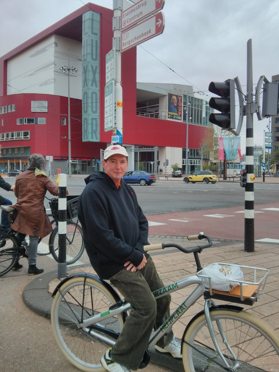 Getting ready to bike up the Erasmus bridge