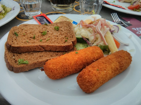 My delicious lunch - white asparagus salad and white asparagus kroketten (breaded and fried asparagus)