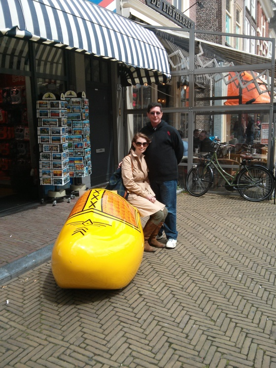 In the Netherlands, so of course we need a photo with a giant wooden clog!