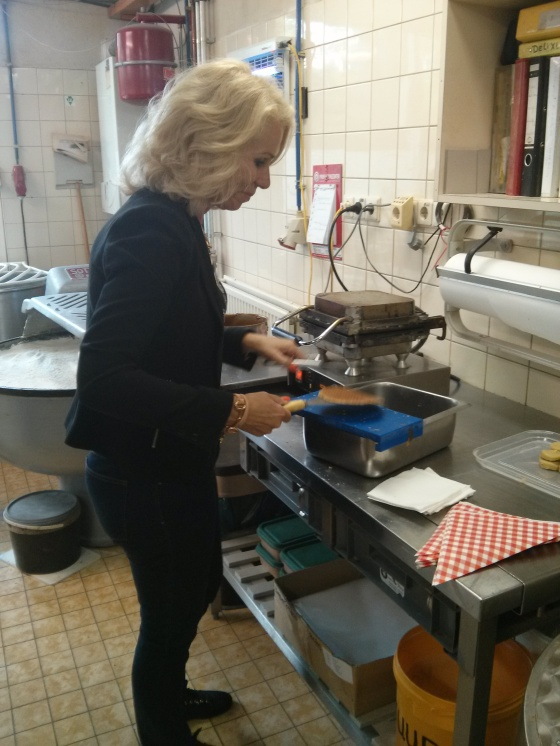 Petra preparing her waffle!
