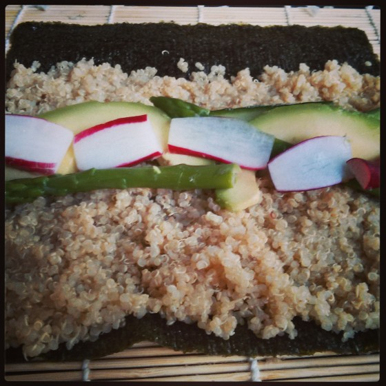 My quinoa sushi, ready to be rolled!