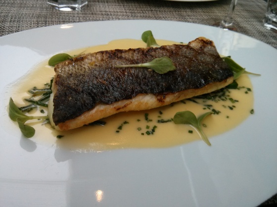 My main course: Grilled sea bass with , and a beurre blanc sauce