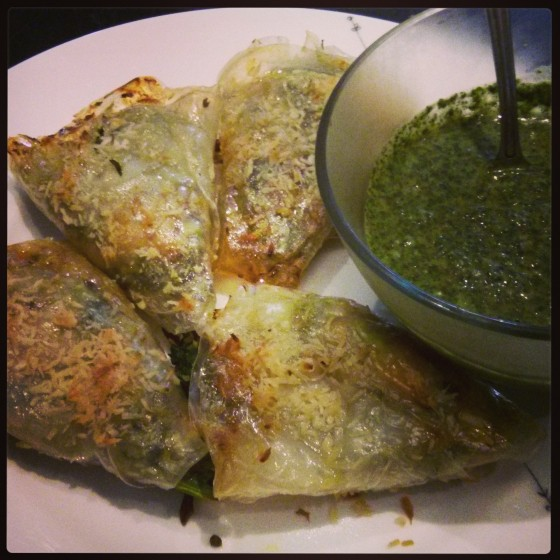 Fully-Loaded Spring Samosas with Sweet n' Spicy Mint Chutney