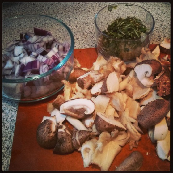 A few of the ingredients for the burgers