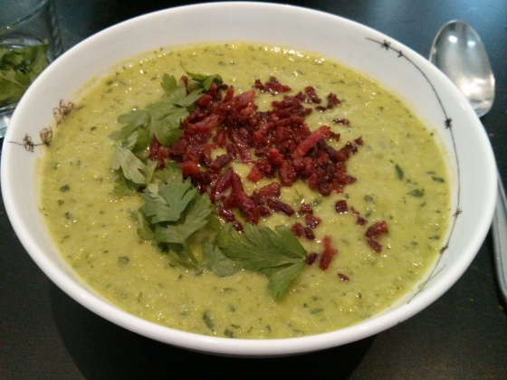 Chilled Parsley and Pea Soup, topped with bacon