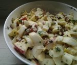 Belgian endive salad with apple, egg, and bacon