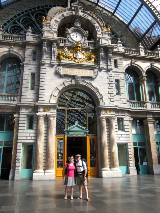 Grayson and Tamar in Antwerp's Central Station, fresh off of the train!