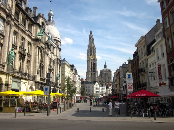 Another view of the Cathedral in the Historic Center of Antwerp
