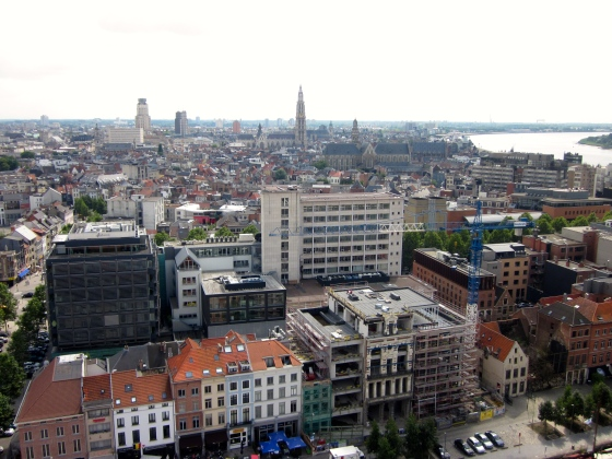 View of Antwerp from the top of the MAS