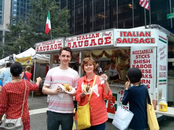 Koen and my mom with Italian sausage dogs