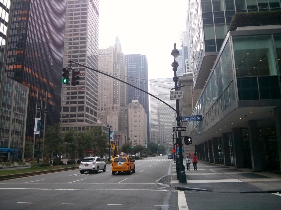 Walking through Midtown, on our way to eat real New York bagels