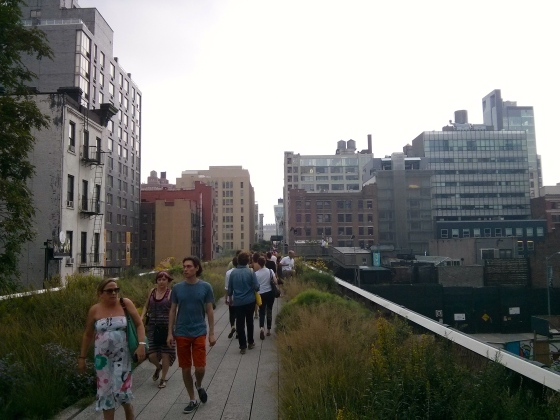 "Walking the Highline ""The High Line is a 1-mile (1.6 km)[1] New York City linear park built on a 1.45-mile (2.33 km)[2] section of the former elevated New York Central Railroad spur called the West Side Line, which runs along the lower west side of Manhattan; it has been redesigned and planted as an aerial greenway."" (wikipedia)"