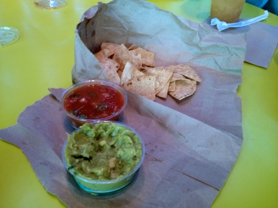 Chips with salsa and guacamole