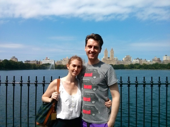 Koen and me in front of the Jacqueline Kennedy Onassis Reservoir in Central Park, facing west