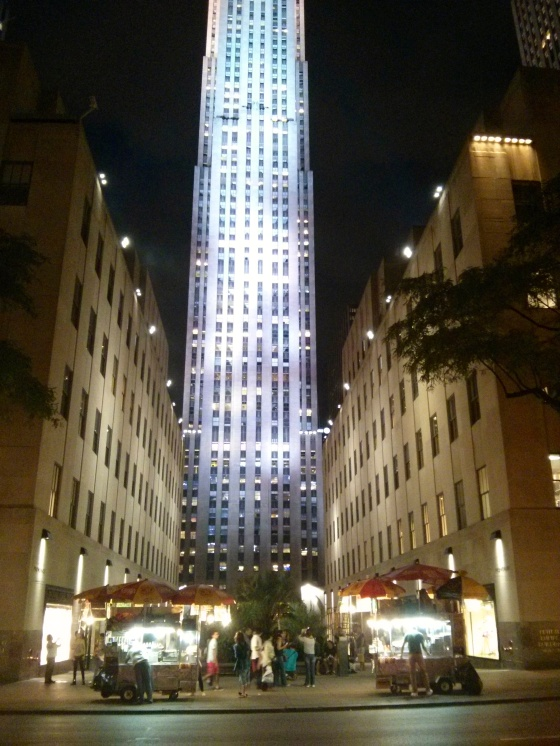 GE Building at Rockefeller Plaza at night