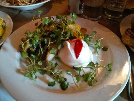 My Burrata with Slow Cooked Summer Squash on Toast