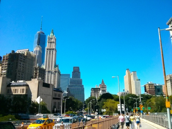 Beginning of the Brooklyn Bridge, facing Manhattan