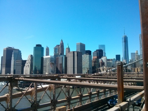 View of the Financial District from the middle of the bridge