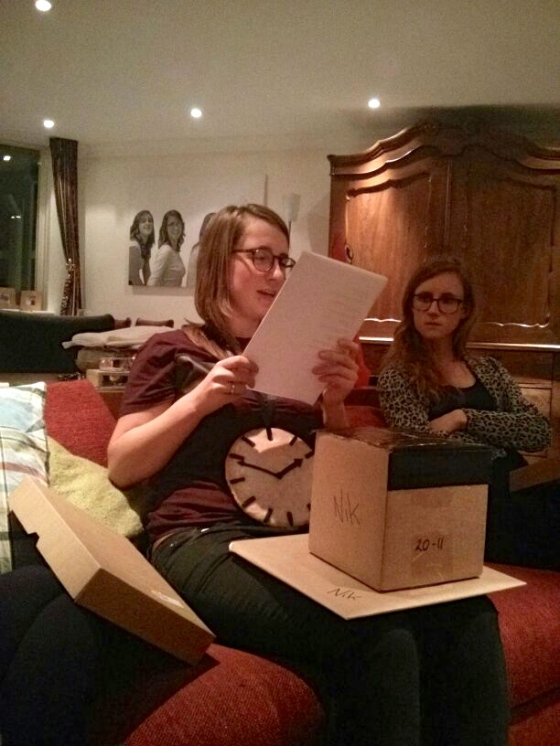 Nikki reading her poem from Sinterklaas/Brigiet