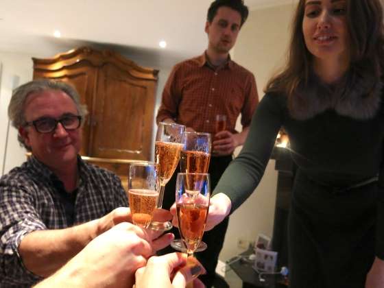 Champagne Christmas toast!