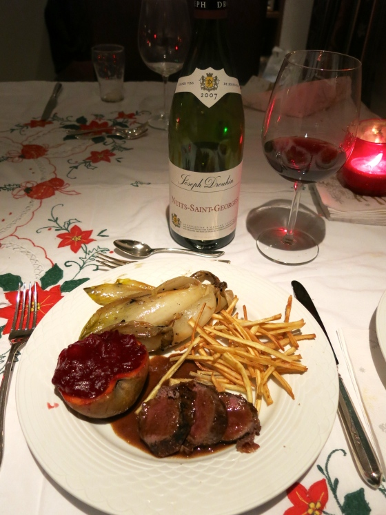 Main Course: roe deer with a delicious sauce created by Dook, parsnip fries, caramelized Belgian endive, and oven-roasted apples stuffed with cranberry sauce served with a delicious wine from Grand Vin