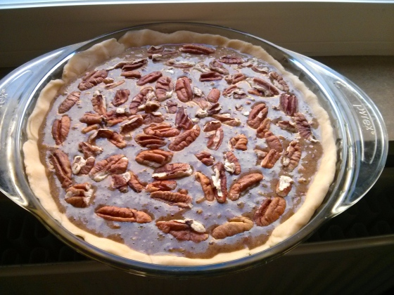 Pecan pie before going into the oven http://www.marthastewart.com/283515/basic-pie-dough http://www.foodnetwork.com/recipes/trisha-yearwood/pecan-pie-recipe/index.html