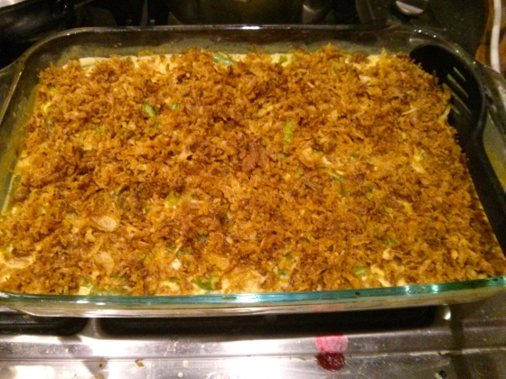 Green bean casserole http://www.campbellskitchen.com/recipes/classic-green-bean-casserole-24099