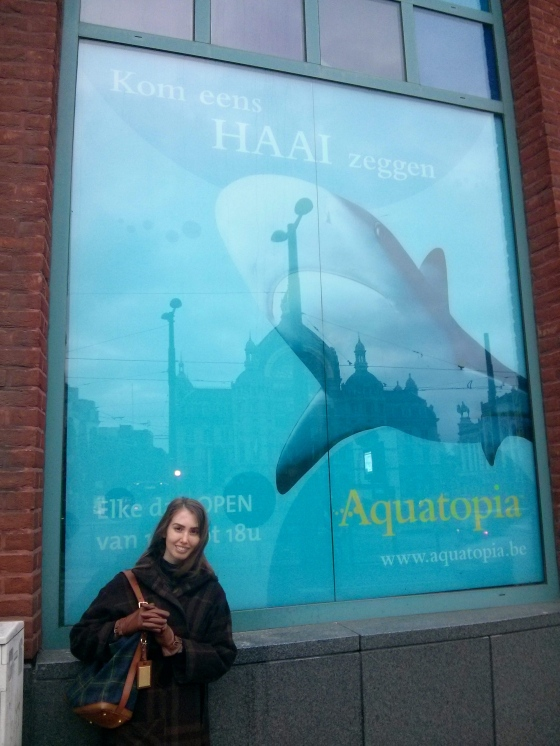 Me outside Aquatopia with Central Station in the reflection