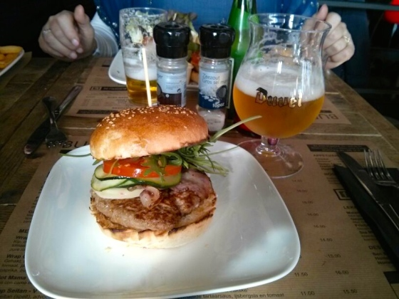 My plate: Dolce Vita; 100% beef patty, Provolone, tomato, rucola, pancetta, grilled vegetables, and basil mayonnaise