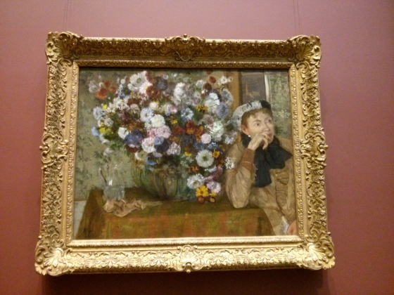 A Woman Seated beside a Vase of Flowers (Madame Paul Valpinçon?), Edgar Degas, 1865