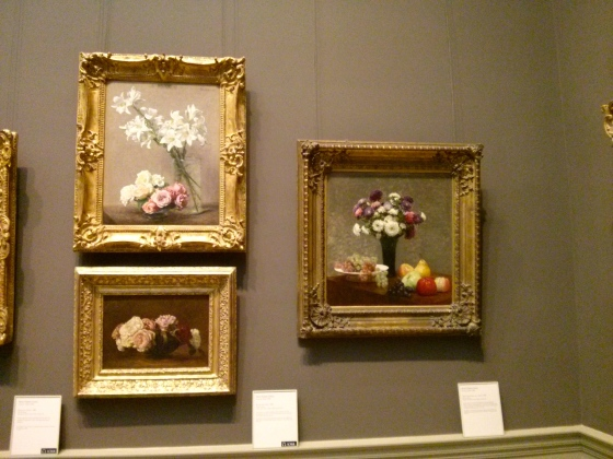 a) Asters and Fruit on a Table, 1868 b) Roses and Lilies, 1888 c) Roses in a Bowl, 1883, Henri Fantin-Latour