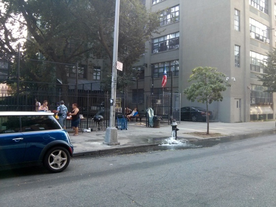 An open fire hydrant on a hot summer day in Brooklyn - just like in the movies haha