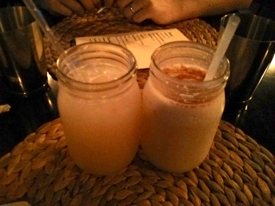 Koen's Guanabana (Soursop) drink on the left and my Cocada (coconut milkshake) on the right