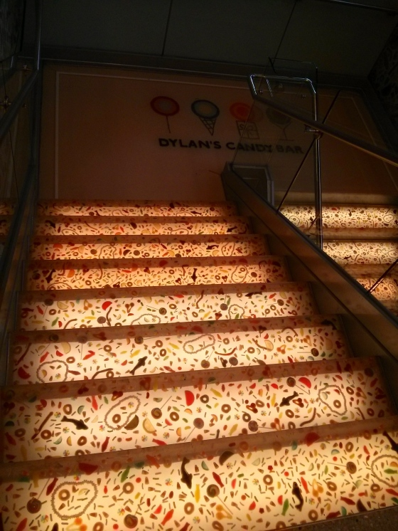 Heading up the candy stairs to check out the café