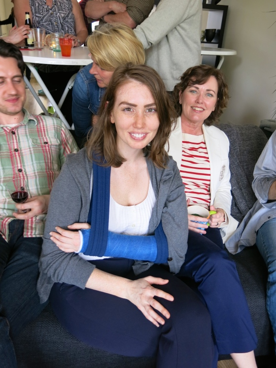 Me with my blue cast - there was a lot of debate about if I had made the correct color choice! Boring but safe :)