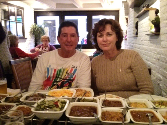 My parents with the delicious food!