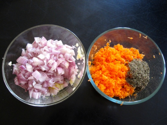 Prep for making the tomato sauce - shallots, garlic, carrot, and thyme