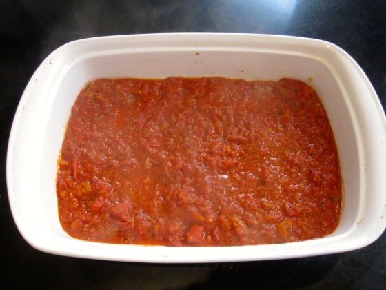 First a layer of the tomato sauce