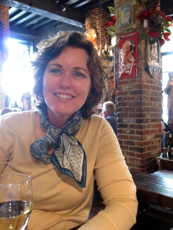 Mom enjoying her wine