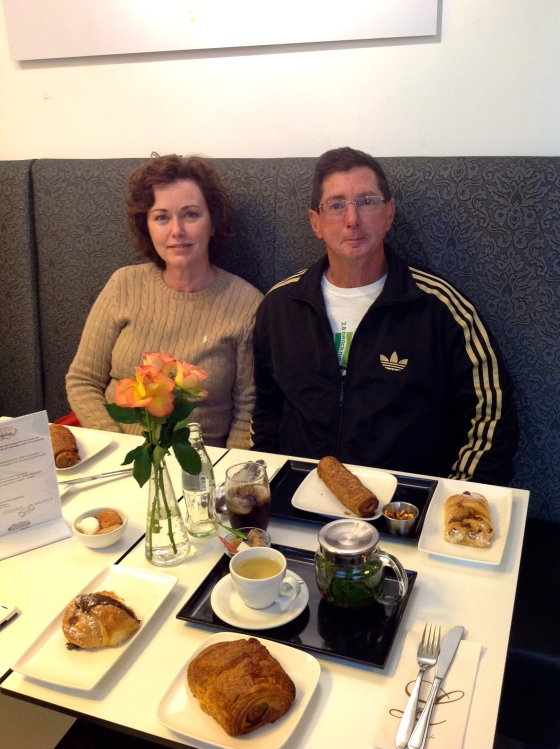 My parents enjoying their curryrols and pastries