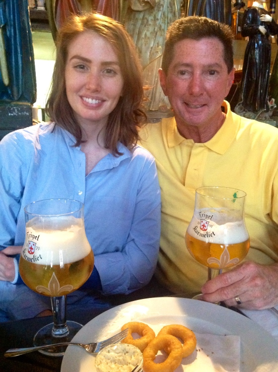 Dad and me with our beer and hapjes