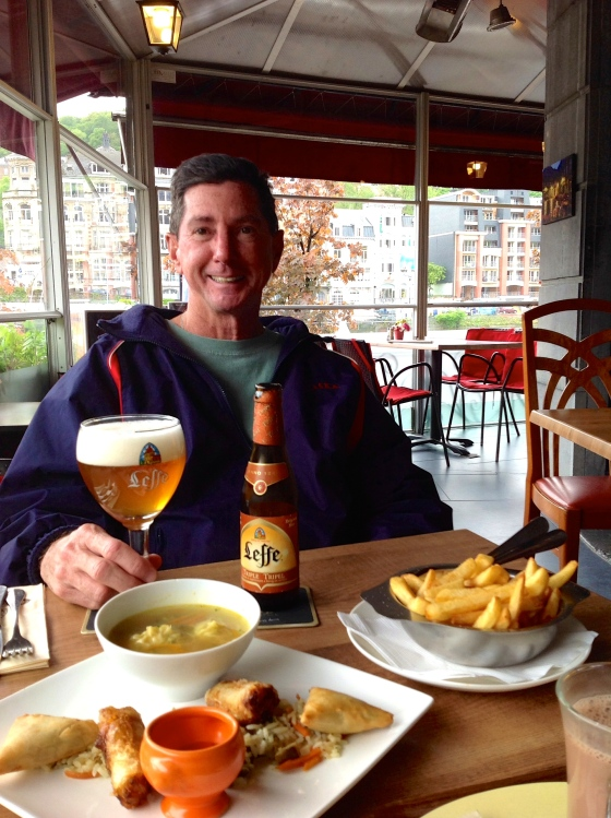 Dad with his beer and our Asian snacks and fries