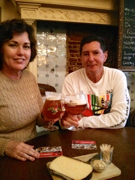 Enjoying Belgian beer! Although my mom was holding my beer haha