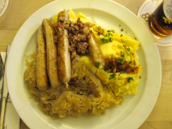 "My mom and I both ordered the ""Spanferkel-Bratwürstchen mit Weinsauerkraut, Kartoffelpüree, Speck und Zwiebeln"" or ""Pork bangers with sauerkraut, mashed potatoes, bacon and onions"" - soooo delicious!!!"