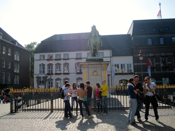 """Marktplatz, Jan-Wellem statue """"the Count Palatine on the Rhine, the Lord High Steward and Elector of the Holy Roman Empire, the Duke of Bavaria, Jülich, Cleve, Berg, the highly meritorious Prince who has enlarged the city and founded the art gallery"""""""
