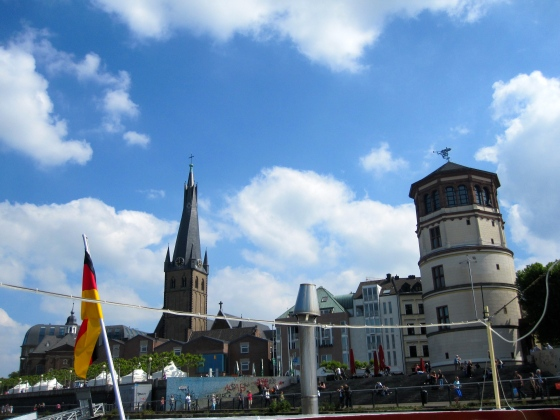 View of the Schlossturm and the Lambertus-Basilika, the oldest building in Düsseldorf (with a slightly crooked tower)